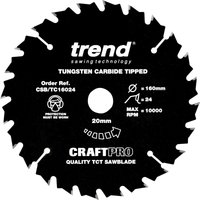 Trend CRAFTPRO Non Stick Wood Cutting Saw Blade 160mm 24T 20mm