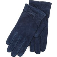 Isotoner Ladies Suede Glove with Bow Detail Navy Medium