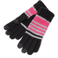 SmarTouch Ladies Chunky Knit 3 Finger Touchscreen Gloves Black Pink Grey Stripe One Size