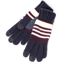 SmarTouch Ladies Chunky Knit 3 Finger Touchscreen Gloves Navy Burgundy Stripe One Size
