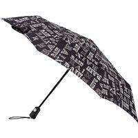 totes Auto Open Close XTRA STRONG Rain Text Print Umbrella   3 Section