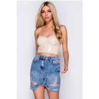 Acid Wash Distressed Detail Denim Mini Skirt