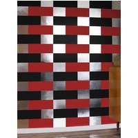 Erica Wakerly Wallpapers Block Black Red Silver, BLO B/R/S