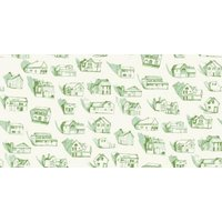 Erica Wakerly Wallpapers Houses Green Cream, HOU G/C
