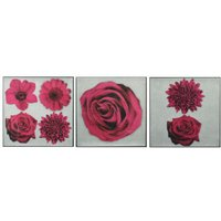 Arthouse Art Cerise Floral Feast set of 3 canvases, 002834