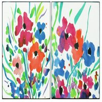 Arthouse Art Floral Cocktail Set of 2 Lacquer Canvases, 002838