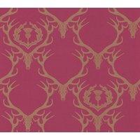 Barneby Gates Wallpapers Deer Damask Claret, BG0100402