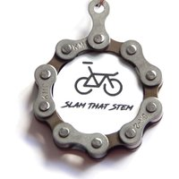 "Recycle and Bicycle ""Slam That Stem"" Recycled Bicycle Chain Keyring Gift Items"