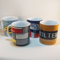 Cycling Souvenirs Retro Team Mugs (Set of 4) Gift Items
