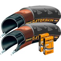 Continental 2 Gatorskin 25c Tyres with 2 Tubes Road Race Tyres