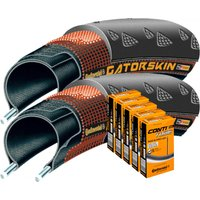 Continental 2 Gatorskin 23c Tyres with 5 Tubes Road Race Tyres