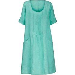 bei Peter Hahn: Kleid aus 100% Leinen 3/4-Arm Anna Aura türkis - Kurzgrößen