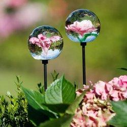 Glaskunst-Stecker pinker Blütentraum inkl. Stab, 2er-Set, 6x100 Zentimeter