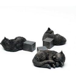 Kübelfuß Bronzeoptik 3er-Set Kätzchen, 3,5x9x11 Zentimeter