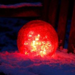 LED-Glaskugel, 25 Zentimeter, rot