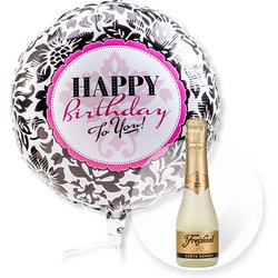 Ballon Happy Birthday Black and White und Freixenet Semi Seco