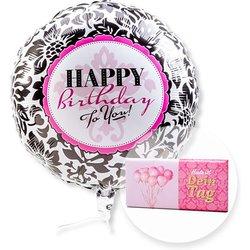 Ballon Happy Birthday Black and White und Schokolade Dein Tag