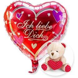 Ballon Ich liebe Dich und Teddy mit Herz