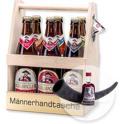 Bierträger Männerhandtasche inklusive Sixpack Bier und Jagdfieber