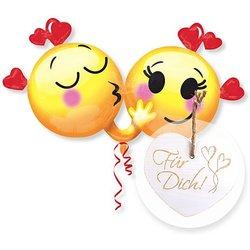 Riesenballon Emojis in Love und Vintage-Herz Für Dich!