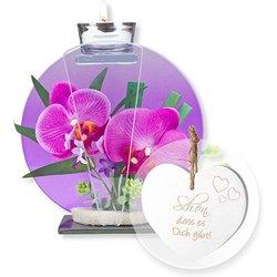 Glas-Windlicht mit Orchideen-Deko und Vintage-Herz Schön, dass es Dich gibt!