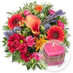 Herbstleuchten und Herz-Kerze