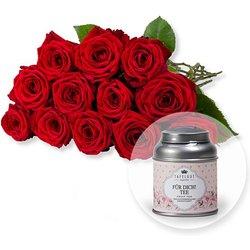 12 langstielige rote Premium-Rosen und Tafelgut Für Dich Tee