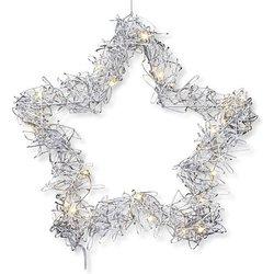 Silberfarbener Sternen-Kranz mit LED (25cm)