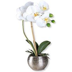 Künstliche Orchidee in silberfarbenem Topf