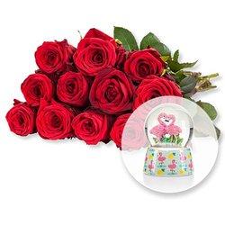 12 rote Fairtrade-Rosen und Schüttelkugel Flamingo