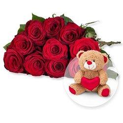 10 langstielige rote Premium-Rosen und Love-Teddy