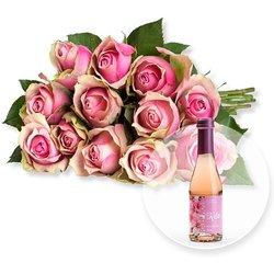 12 rosafarbene Fairtrade-Rosen und Kirschblüten-Secco