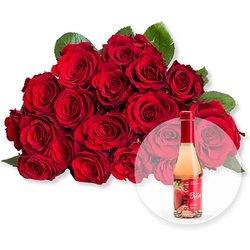 18 rote Fairtrade-Rosen und Erdbeer-Secco