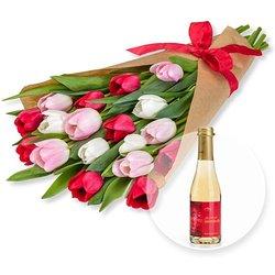 Tulpentraum mit Schleife und Piccolo Alles Liebe zum Valentinstag
