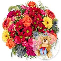 Farbenpracht und Glückwunsch-Teddy