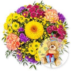 Buntes Glück und Glückwunsch-Teddy