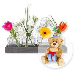 Vasen-Set Frühlingszauber und Glückwunsch-Teddy