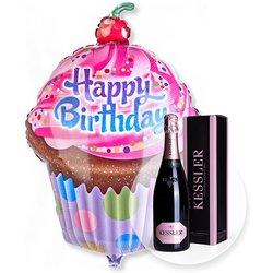 Riesenballon Happy Birthday Cupcake und Kessler Rose Sekt