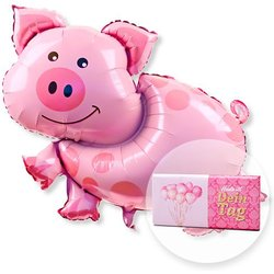 Ballon Glücksschweinchen und Schokolade Dein Tag