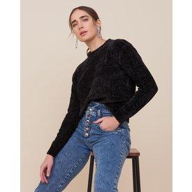 suéter especial chenille, preto
