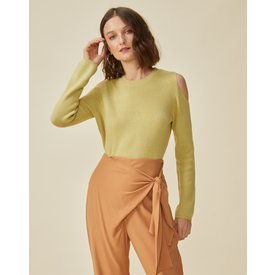 suéter ombro aberto, verde claro