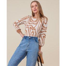 suéter desenho bicolor, camel