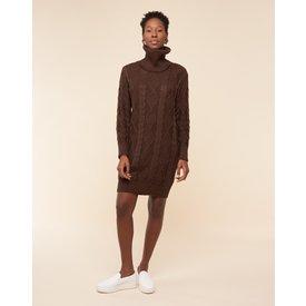 vestido suéter curto gola, marrom
