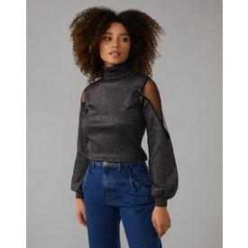 suéter gola alta detalhe organza ombro, preto