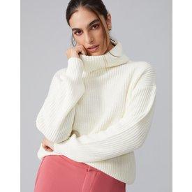 suéter básico gola alta, offwhite
