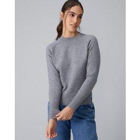 suéter básico raglan, cinza