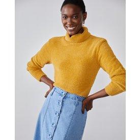 suéter slim felpudo, mostarda