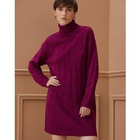 vestido sueter gola alta, purple