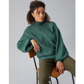 suéter detalhe losangos, verde escuro