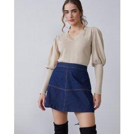 suéter decote v mangas bufantes, caramelo